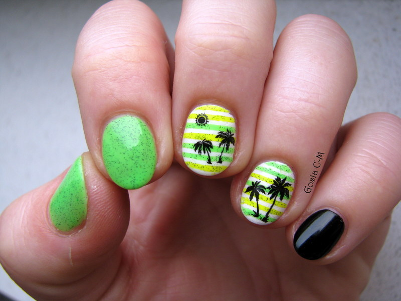 Palm trees nail art by Nail Crazinesss