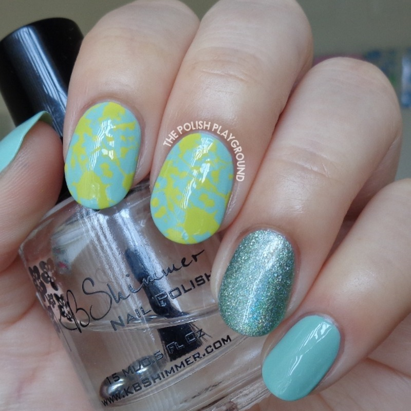 Green and Yellow Splatter Inspired Stamping nail art by Lisa N