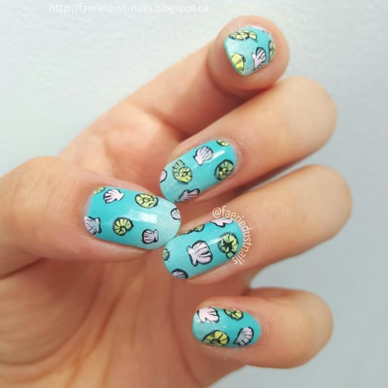 Sea Shells nail art by Shirley X.