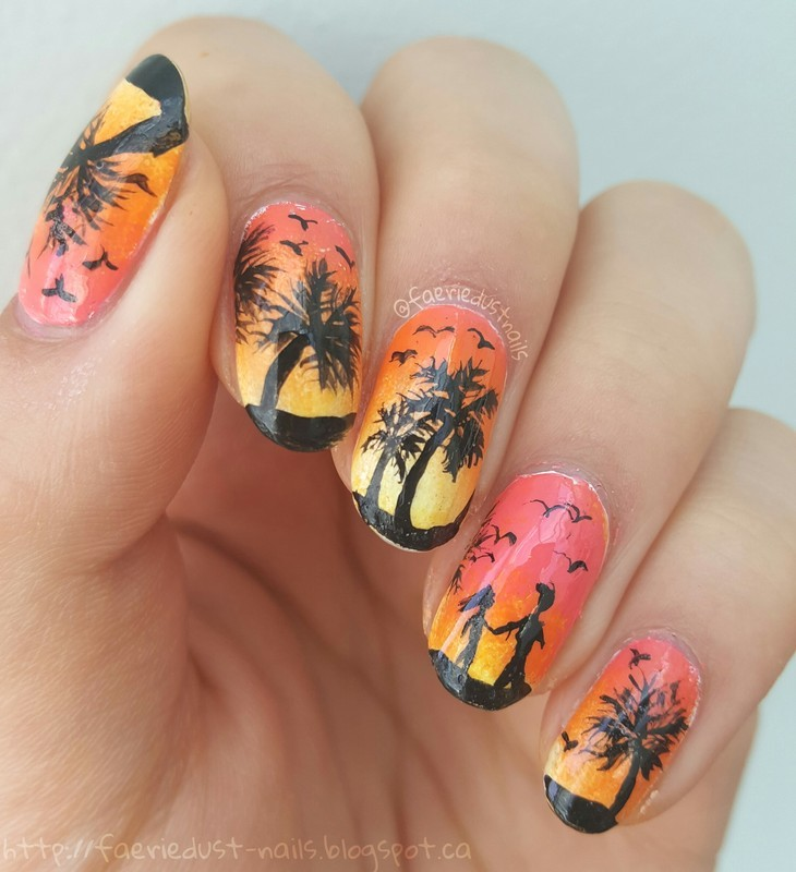 Sunset Walk on the Beach nail art by Shirley X.