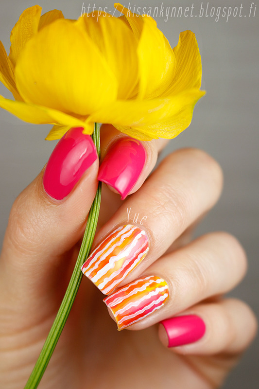Watercolours and stripes nail art by Yue