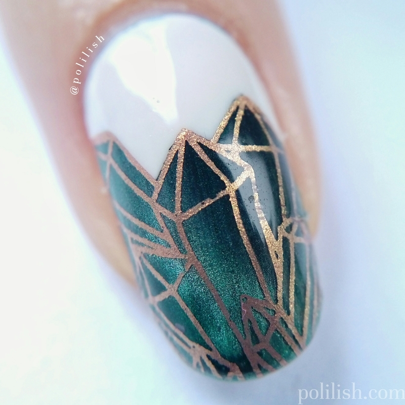 Emerald nails with magnetic polish (macro) nail art by polilish