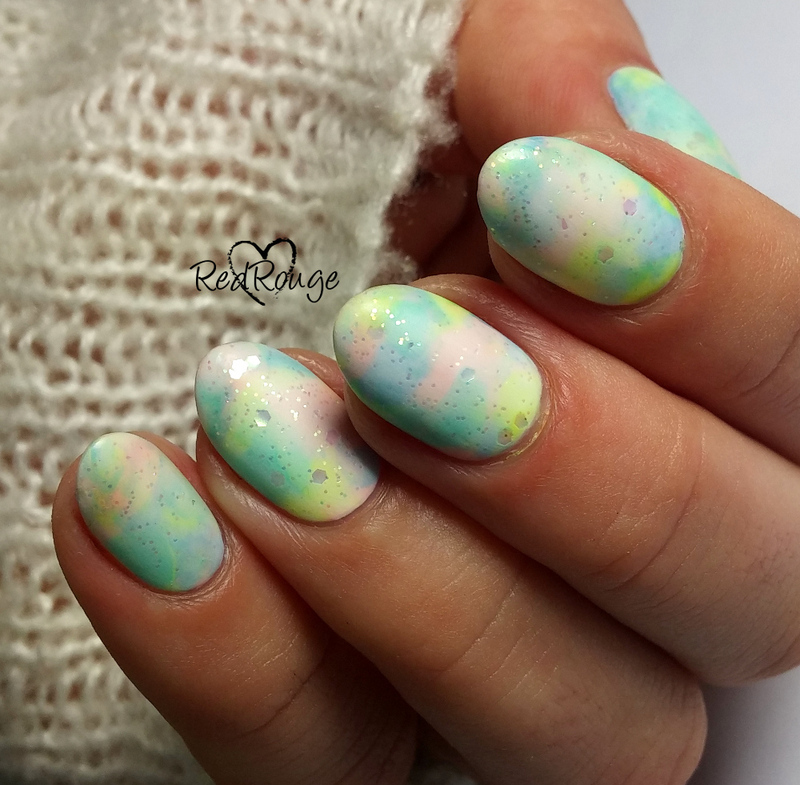 Pastel clouds nail art by RedRouge
