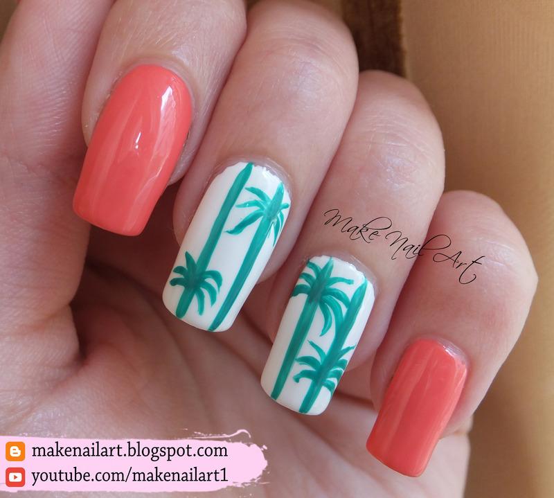 Summer Palm Tree Nail Art Design nail art by Make Nail Art