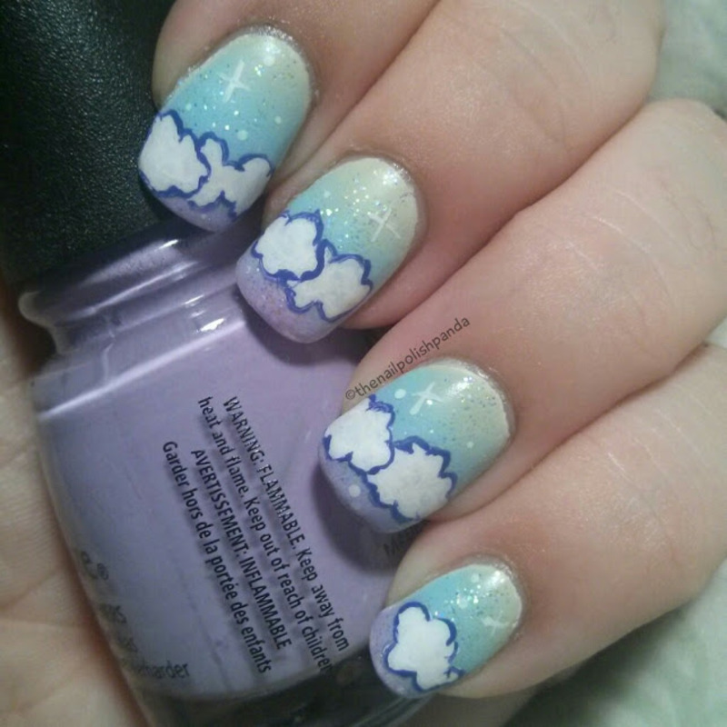 Cotton Candy Clouds nail art by Lynni V.