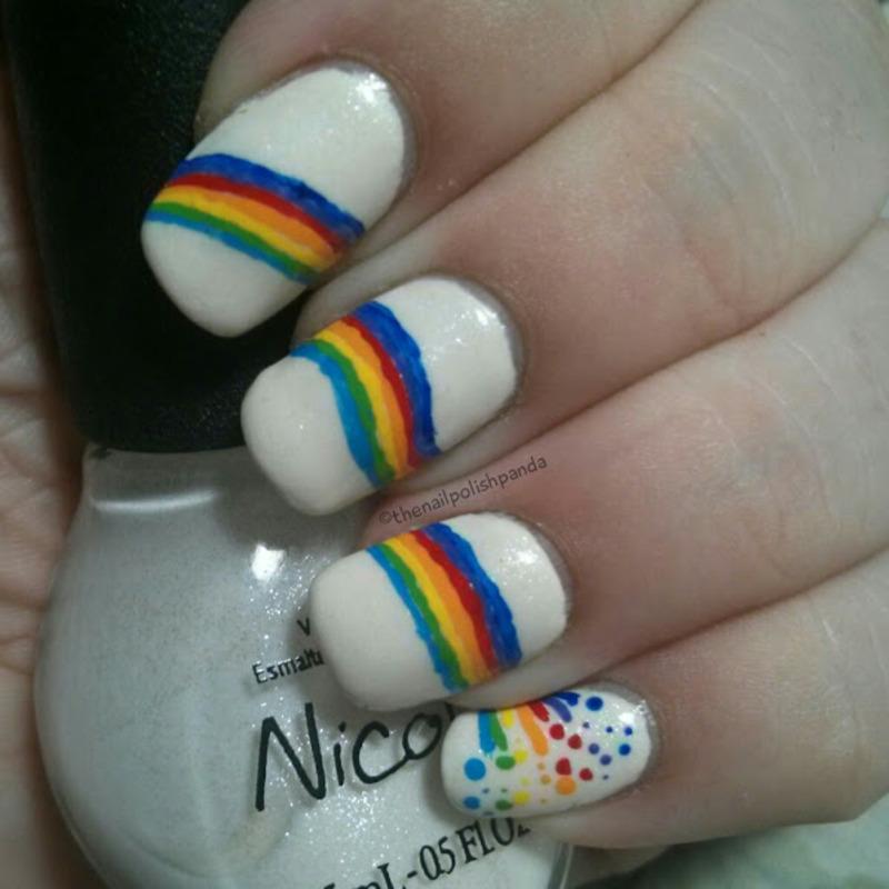 Rainbow Pride nail art by Lynni V.