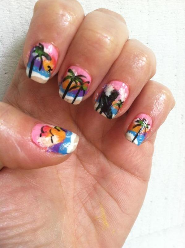 Dreamimg of Hawaii nail art by Dolly Duke