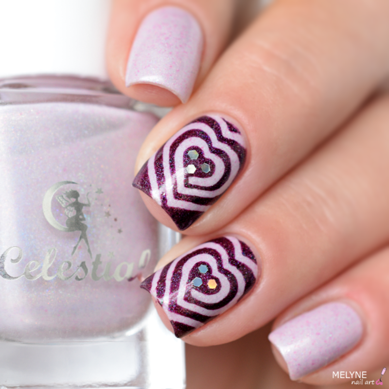 Heart Cyclone nail art by melyne nailart