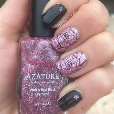 Glittery goodness in pink roses nail art by Happy_aries