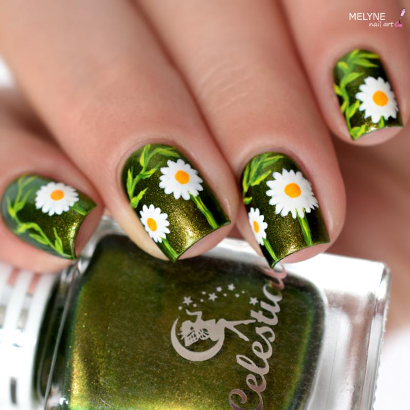 Daisy nails nail art by melyne nailart
