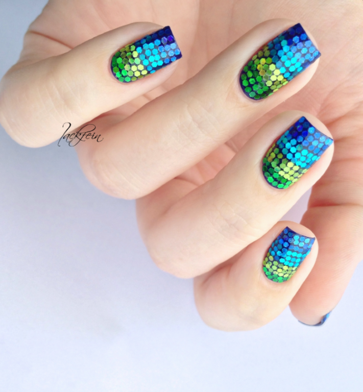Glitter Placement nail art by lackfein
