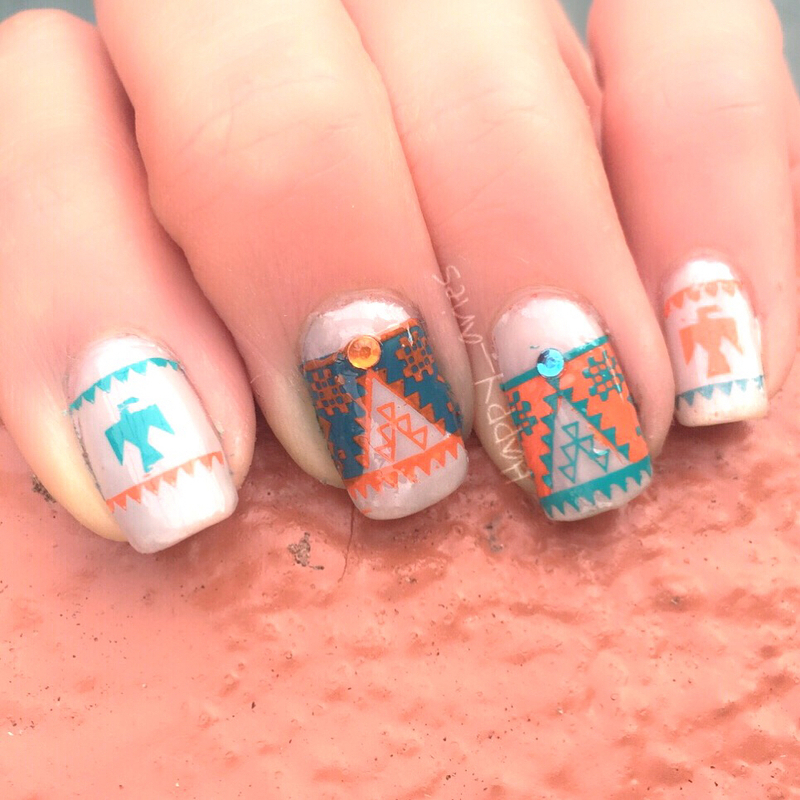 Aztec nail art  nail art by Happy_aries
