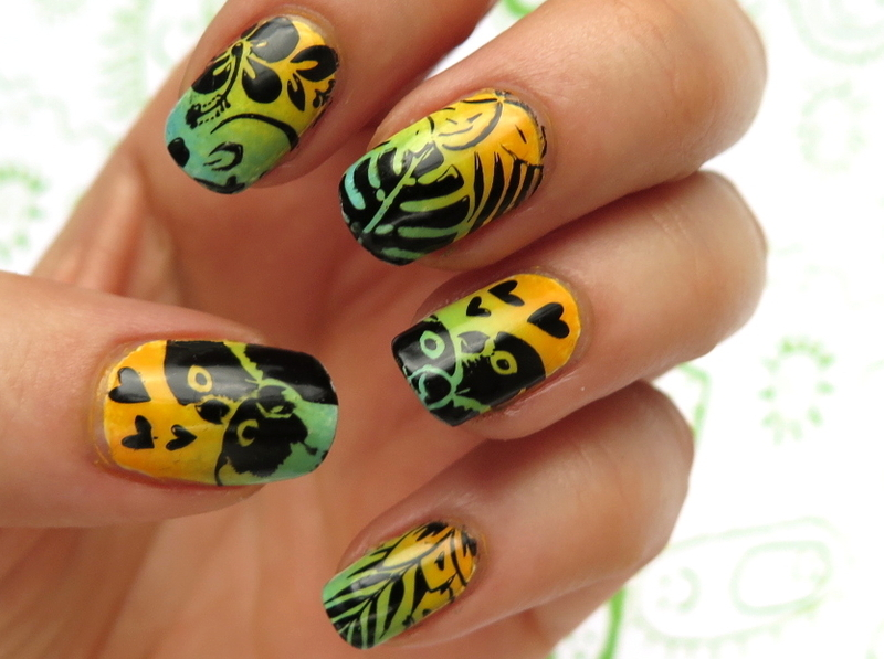 Tropical lovebirds nail art by theCieniu