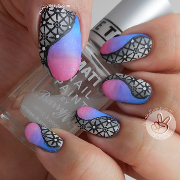Shaded Stamped Nails With Acrylic-Gradients nail art by Ithfifi Williams