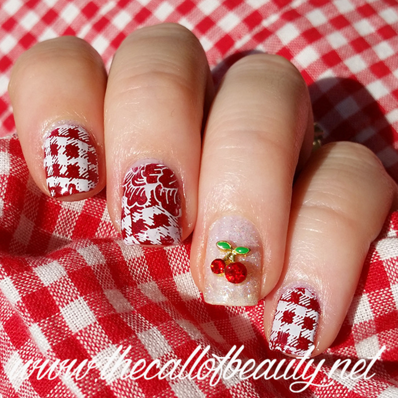 Glitter Cherry nail art by The Call of Beauty
