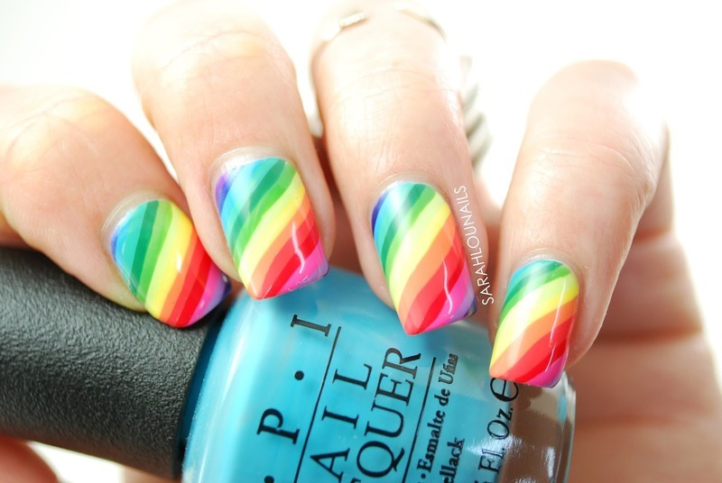 Rainbow Nails! nail art by Sarah S