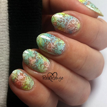 Pastel colorful flowers nail art by RedRouge