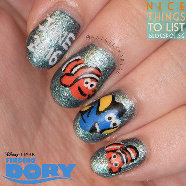 Finding Dory Film Inspired nail art by Karise Tan