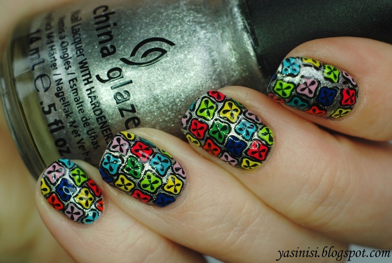 Explosion of colour nail art by Yasinisi