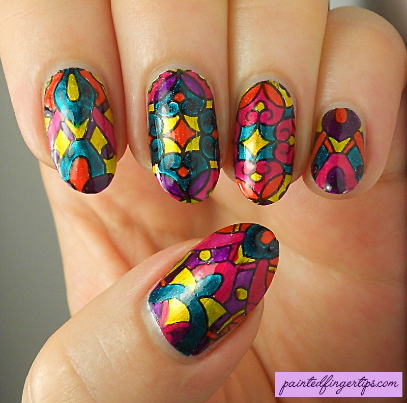 Stained Glass Leadlighting nail art by Kerry_Fingertips