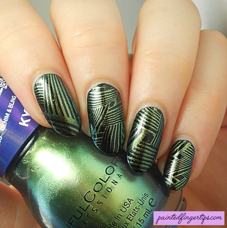 Woven stamping nail art by Kerry_Fingertips