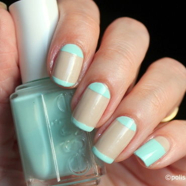 Simple nude and mint manicure nail art by Polished Polyglot