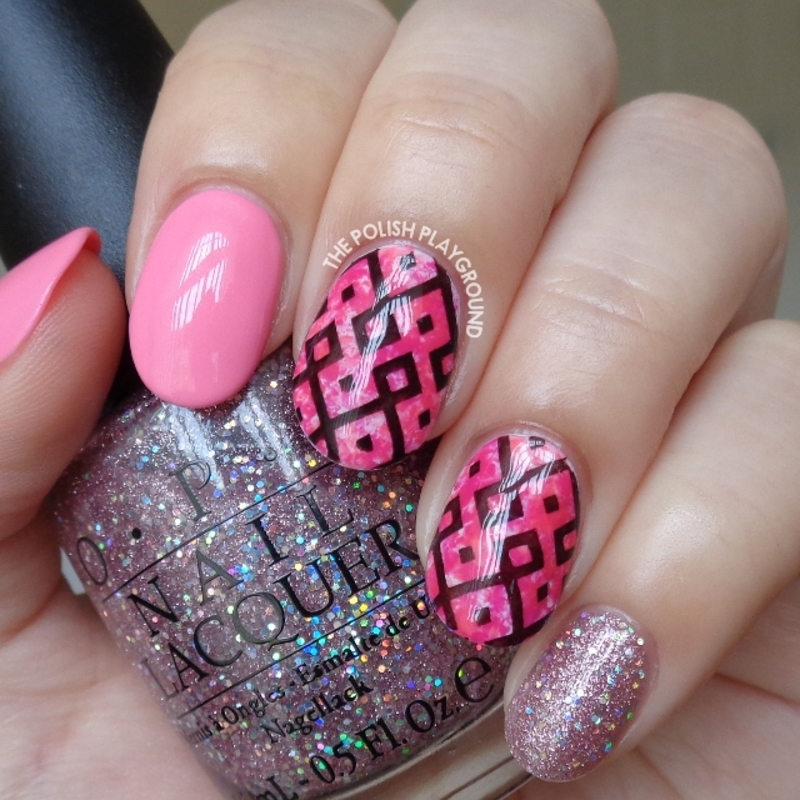 Pink Saran Wrap with Black Geometric Stamping nail art by Lisa N