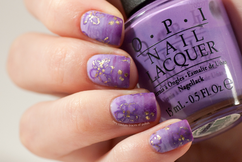 Purple flowers with gold accent nail art by Zara TracesOfPolish