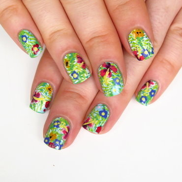 Tropical nail art freehand flowers stamping leaves born pretty store bp 19 plate thumb370f
