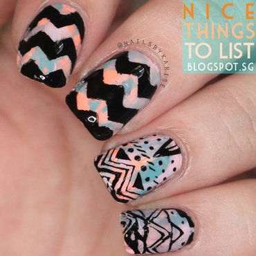 Chevron and Tribal Stamping nail art by Karise Tan