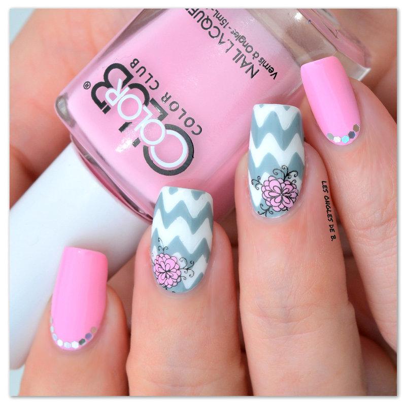 Chevron et stamping nail art by Les ongles de B.