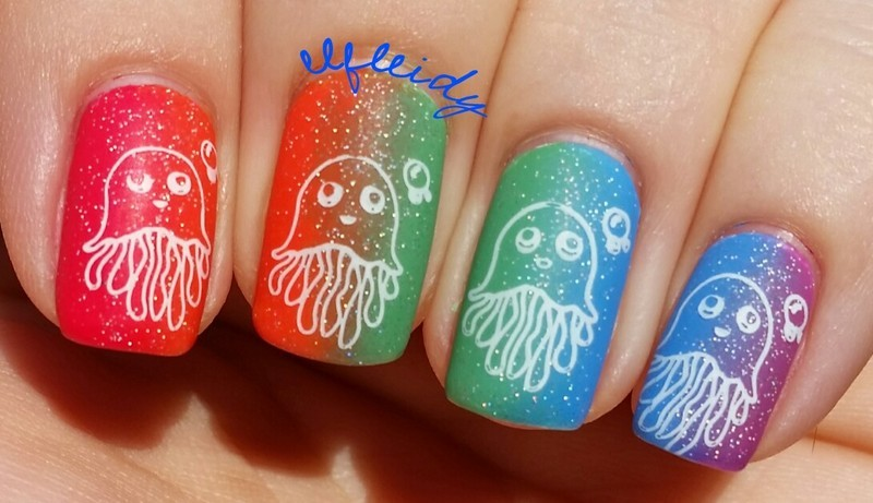 Rainbow jellyfish nail art by Jenette Maitland-Tomblin