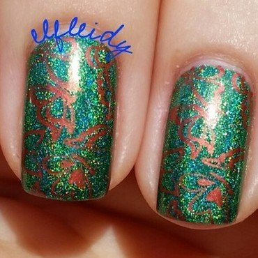 Copper butterflies nail art by Jenette Maitland-Tomblin