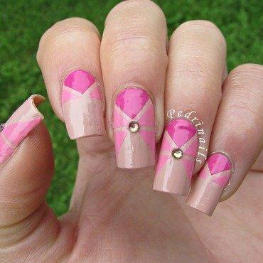 Pink geometrical ruffian chevron manicure with rhinestones nail art by Pedrinails