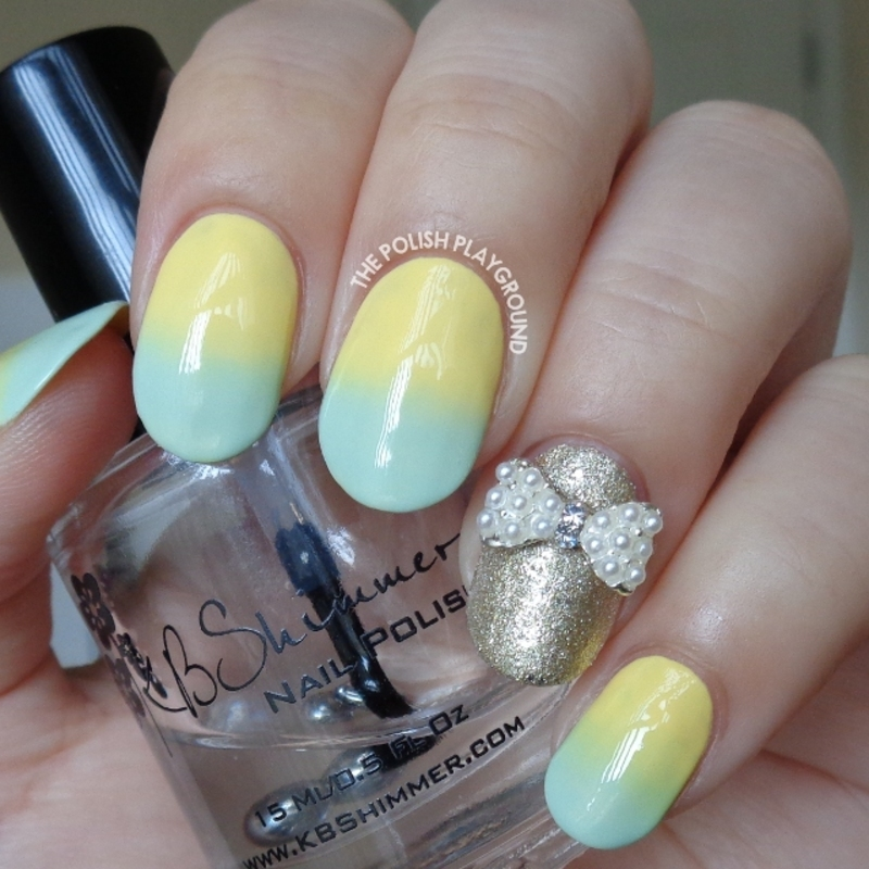 Pastel Yellow and Mint Green Gradient with Bow Stud nail art by Lisa N
