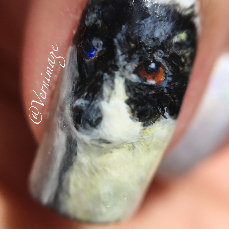 Portrait of a dog, close-up nail art by Vernimage
