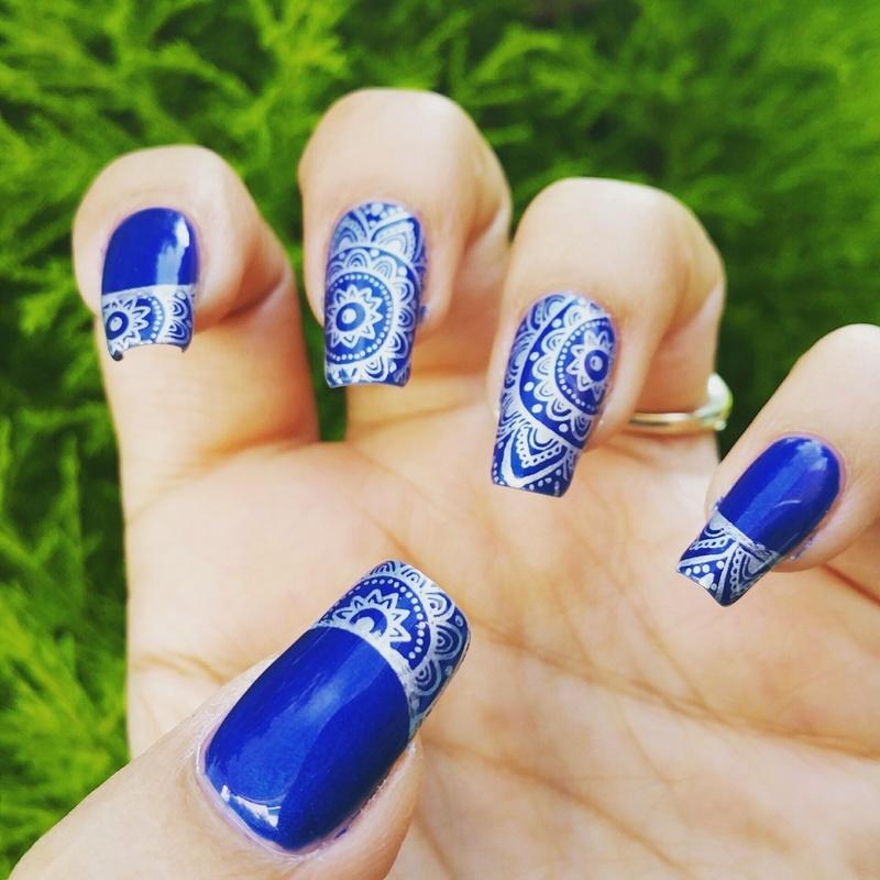 Mandala stamping  nail art by Yogi Boo