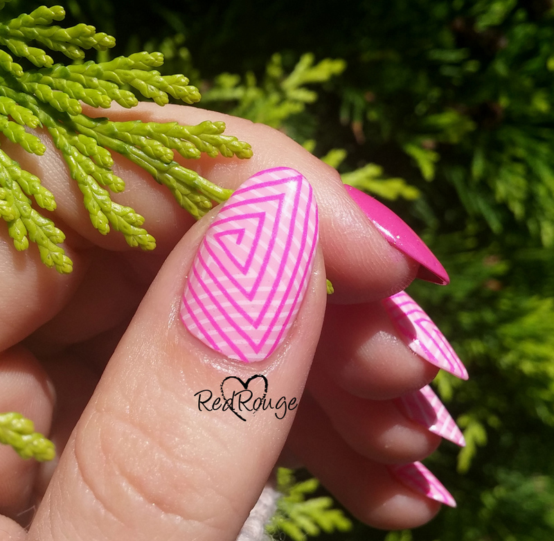double stamping triangles nail art by RedRouge