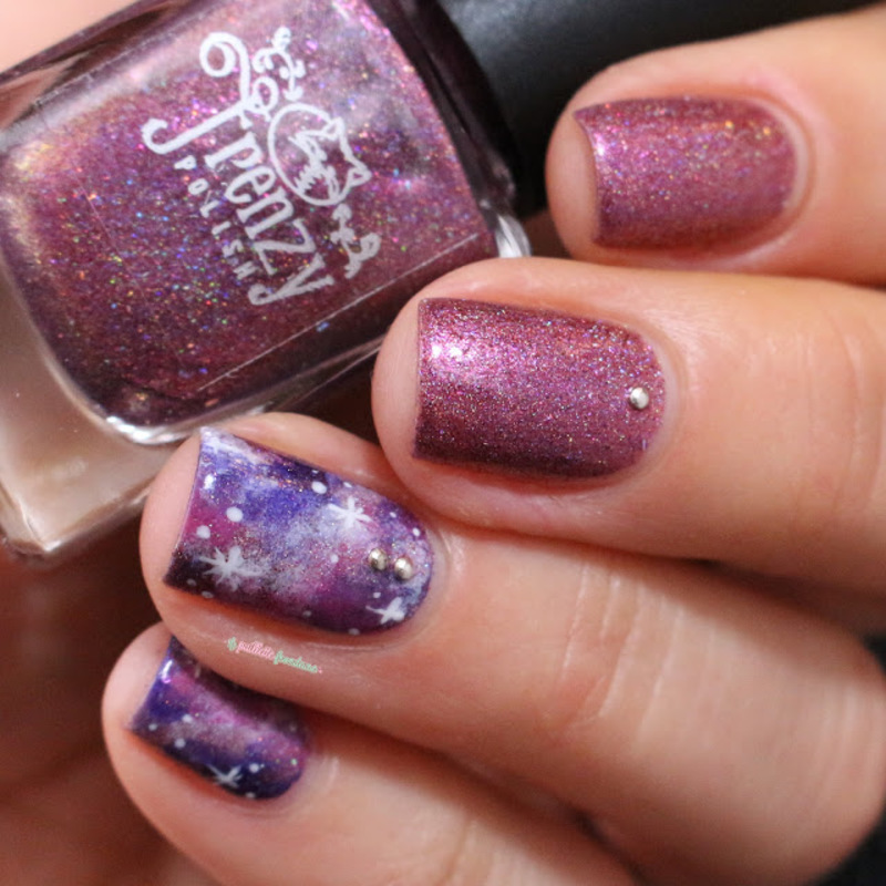 Pink galaxy nail art by nathalie lapaillettefrondeuse