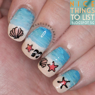 Clairestelle8june beach seashells starfish slippers nail art thumb370f
