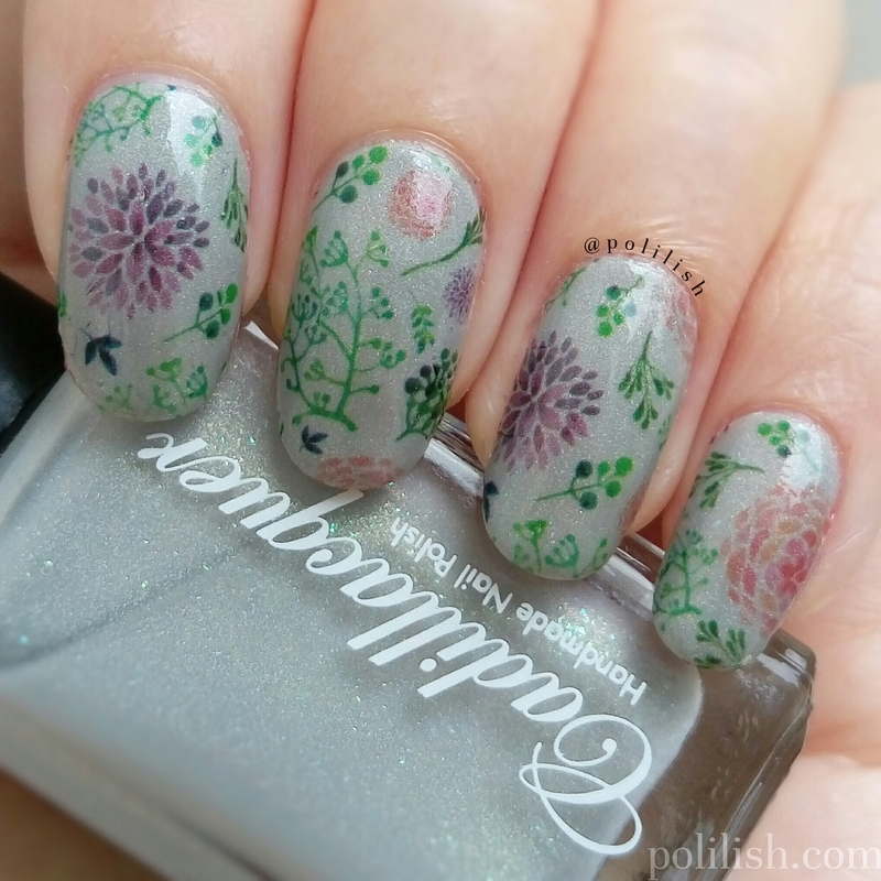 Floral nails with water decals nail art by polilish