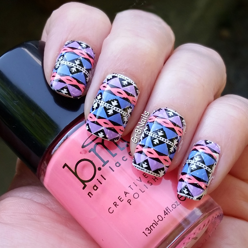Western Blanket nail art by Gr8Nails