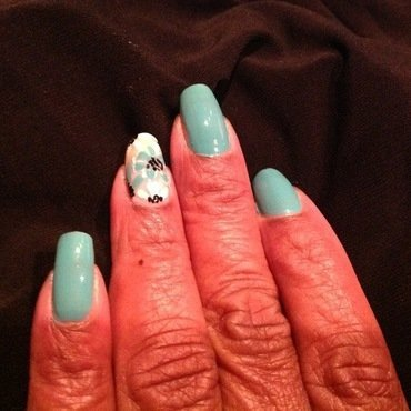 Sea Foam Flowers nail art by cNewman