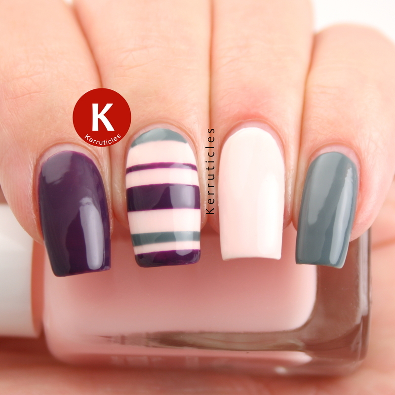 Pink, purple and grey stripes nail art by Claire Kerr