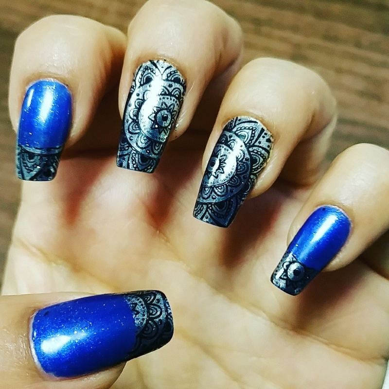 Chrome nails with mandalai stamping nail art by Yogi Boo