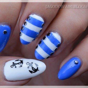 Nautical / Sailor nail art nail art by Jadwiga