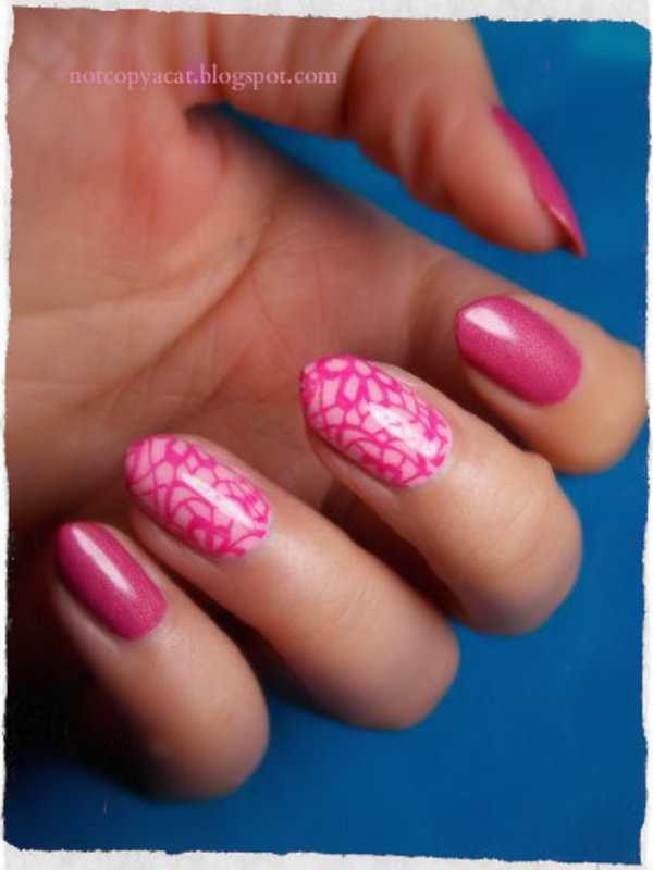 Pink! nail art by notcopyacat