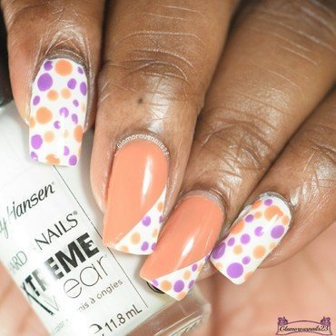 Orange & Purple Dotticure  nail art by glamorousnails23