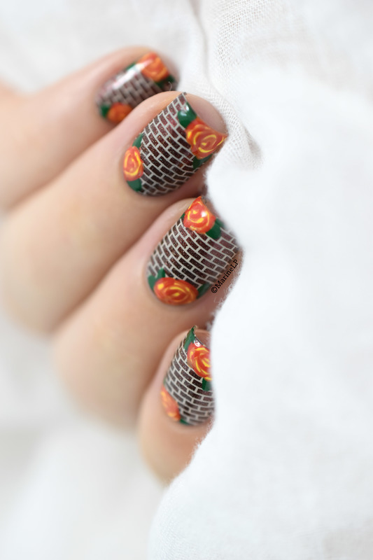 Roses on a brick wall nail art by Marine Loves Polish
