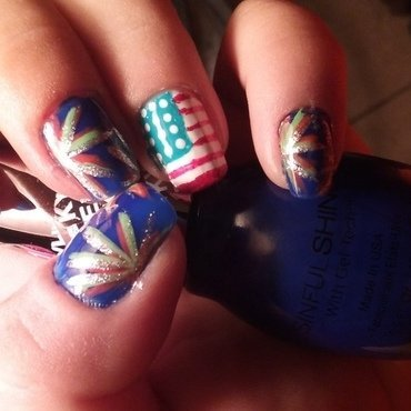 Party in the USA  nail art by Teana Jones